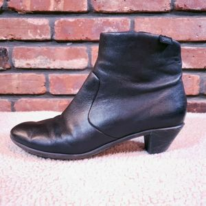 Camper Black Leather Agatha Heeled Ankle Boot